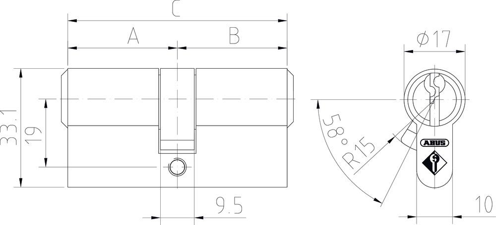 Schließzylinder maße tabelle abus