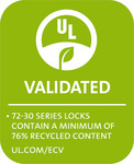 72-30 SERIES LOCKS CONTAIN A MINIMUM OF 76% RECYCLED CONTENT UL.COM/ECV