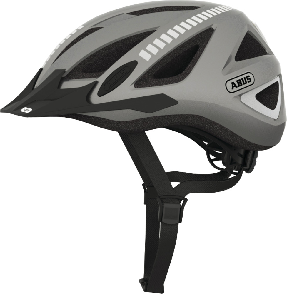 CPSC Certified 2 Items Medium, Velvet Black ABUS Urban-I Ventilated Bike Helmet with Integrated LED Taillight and U-Lock Bundle 180 Degree Light Visibility for Safe City Cycling