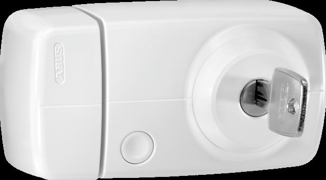 Secvest Funk-Tür-Zusatzschloss mit Innenzylinder (weiß) Rechte Vorderansicht