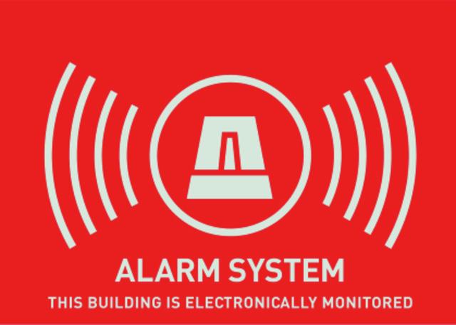 Warn-Aufkleber (UK) Alarm 74 x 52,5 mm Vorderansicht