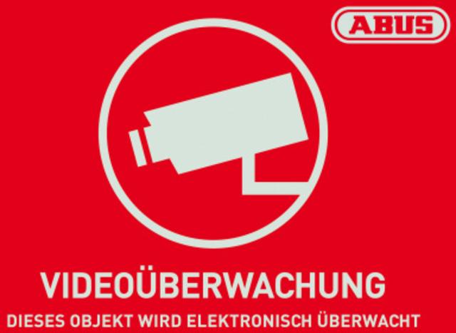 Warn-Aufkleber Videoüberwachung mit ABUS Logo 74 x 52,5 mm Vorderansicht