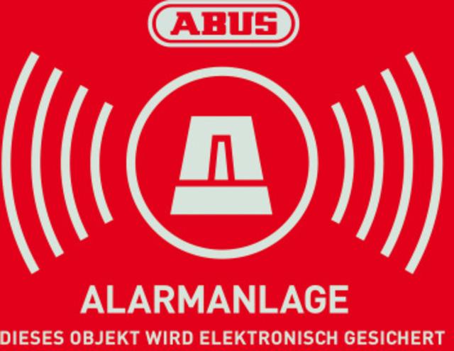 Warn-Aufkleber Alarm mit ABUS Logo 148 x 105 mm Vorderansicht