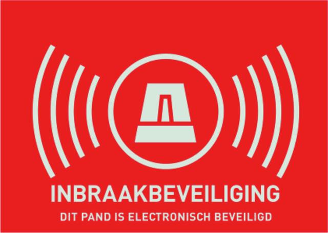"""Warn-Aufkleber (NL) """"Alarmanlage"""" 74 x 52,5 mm Ansicht Rechts"""