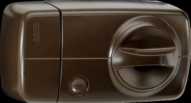 Secvest Funk-Tür-Zusatzschloss mit Drehknauf (braun) Rechte Vorderansicht