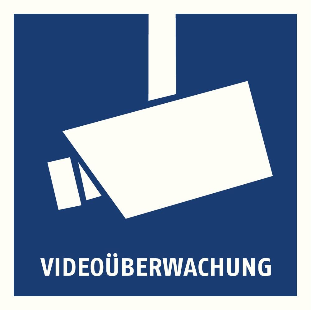 Warnaufkleber Videoüberwachung 90 x 90 mm auf Glas und hinter Glas
