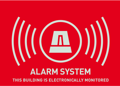 Warn-Aufkleber (UK) Alarm 148 x 105 mm Vorderansicht