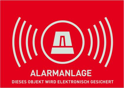 Warn-Aufkleber Alarm ohne ABUS Logo 74 x 52,5 mm Vorderansicht