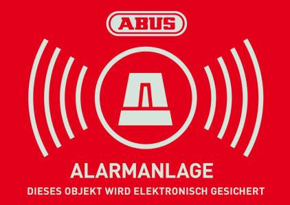 Warn-Aufkleber Alarm mit ABUS Logo 74 x 52,5 mm Vorderansicht