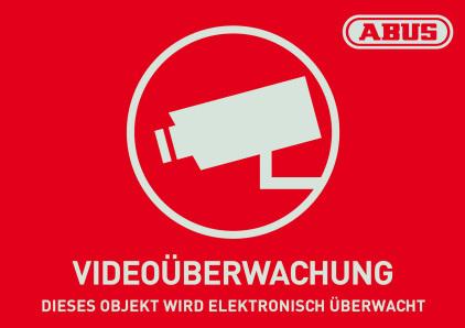 Warn-Aufkleber Videoüberwachung mit ABUS Logo 148 x 105 mm Vorderansicht