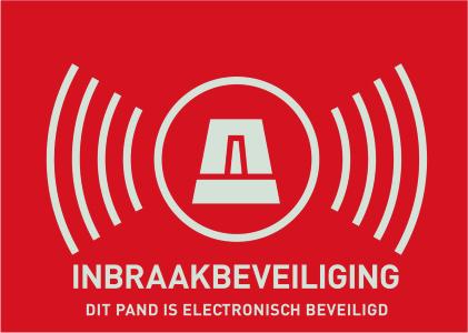 """Warn-Aufkleber (NL) """"Alarmanlage"""" 148 x 105 mm Ansicht Rechts"""