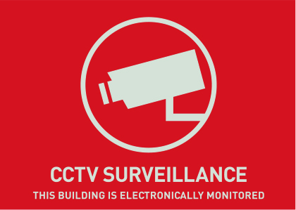 Warn-Aufkleber (UK) Videoüberwachung 74 x 52,5 mm Ansicht Rechts