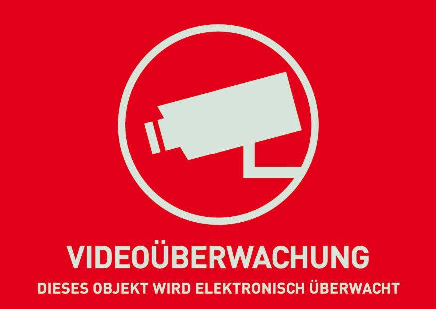 Warn-Aufkleber Videoüberwachung ohne ABUS Logo 74 x 52,5 mm Vorderansicht