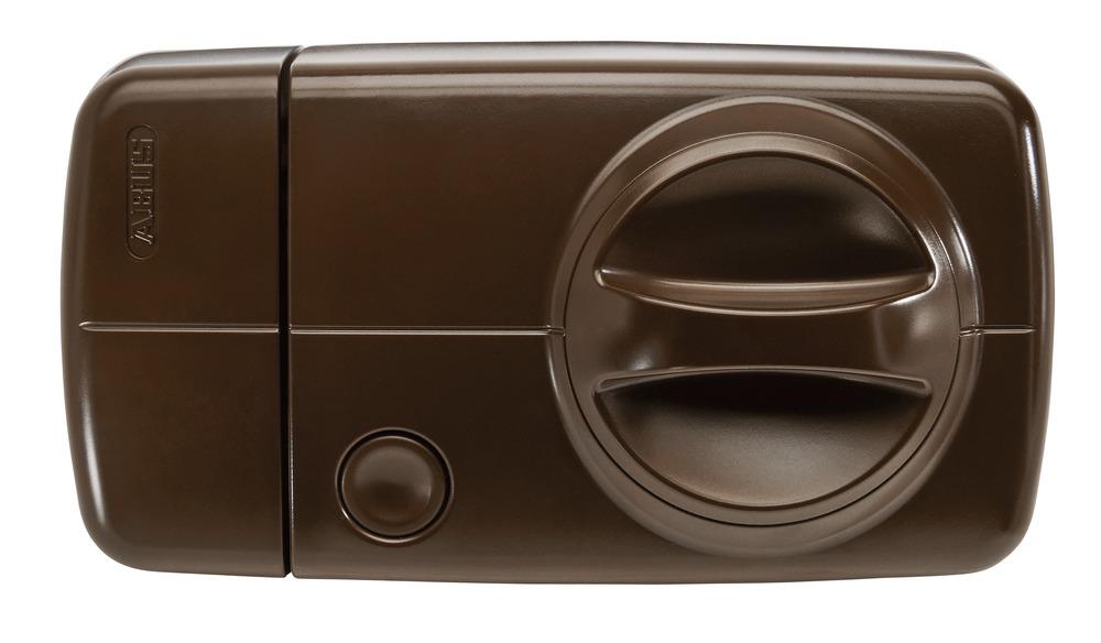 Secvest Funk-Tür-Zusatzschloss mit Drehknauf (braun) Vorderansicht