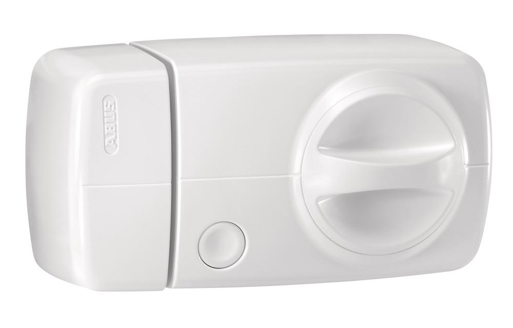 Secvest Funk-Tür-Zusatzschloss mit Drehknauf (weiß) rechte Vorderansicht