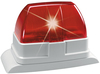 Xenon flashing light, red front view right