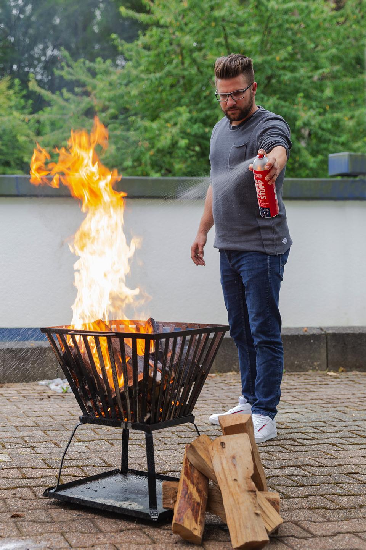 Anwendungsbeispiel – Feuerlöschspray Feuerstopp