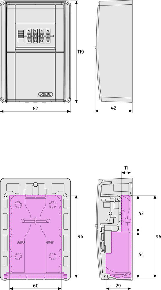 Technische Zeichnung - KeyGarage™ 787 LED
