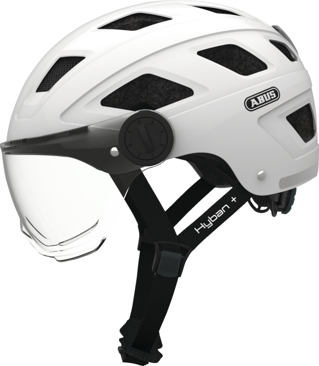 Hyban+ clear visor cream white side view