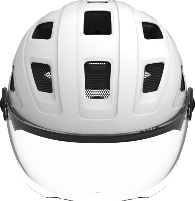 Hyban+ clear visor cream white front view