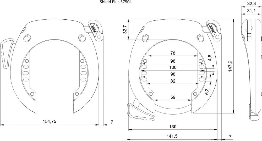Technical drawing - SHIELD™ Plus 5750L