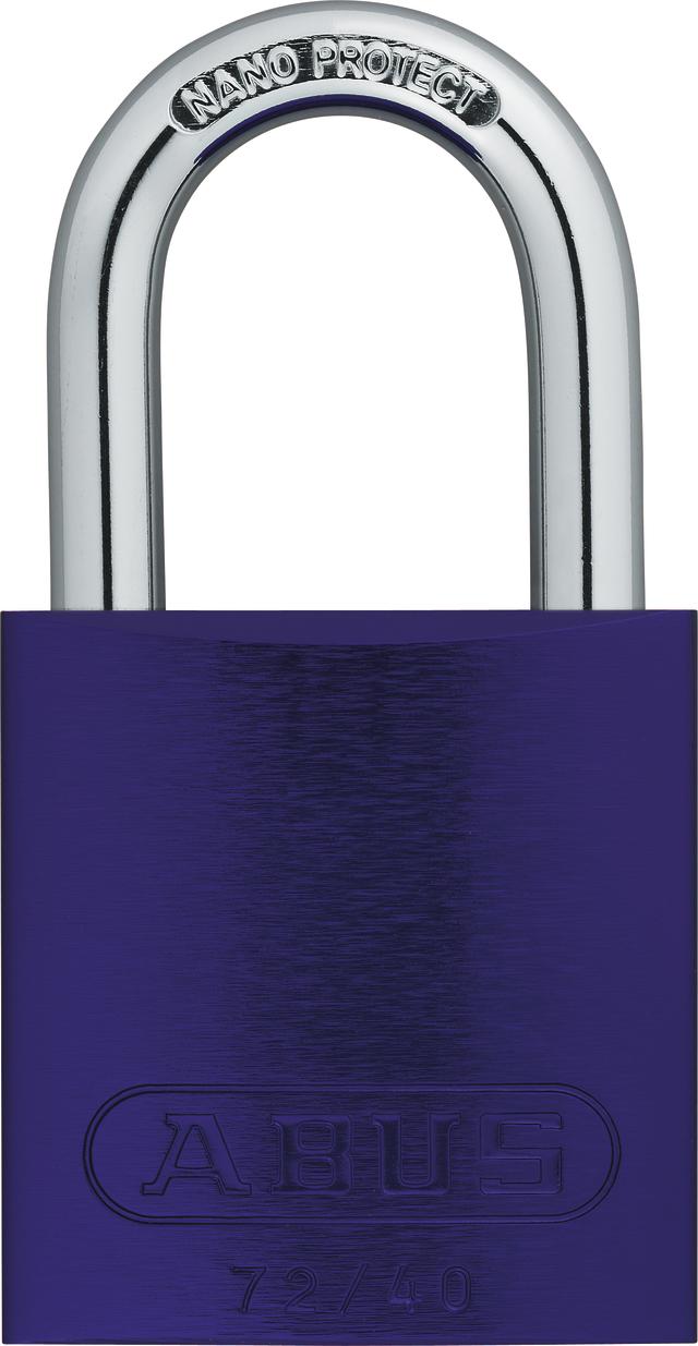 Vorhangschloss Aluminium 72/40 lila Lock-Tag