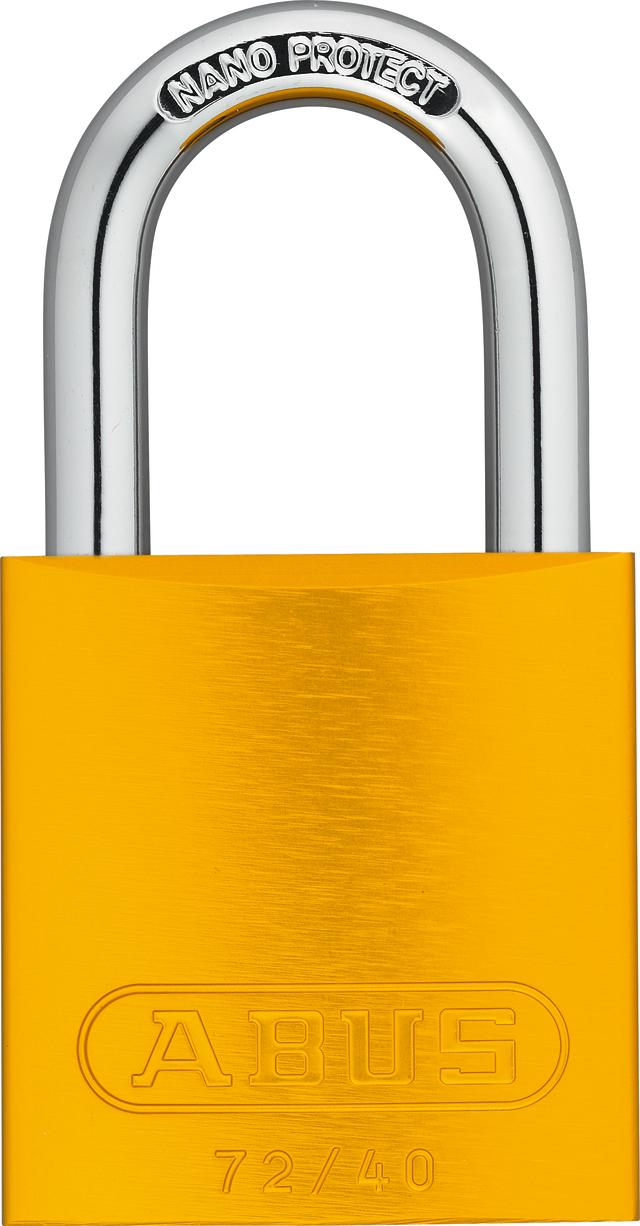 Vorhangschloss Aluminium 72/40 gelb Lock-Tag