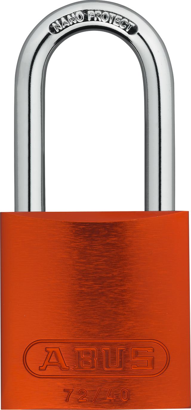 Vorhangschloss Aluminium 72/40HB40 orange HS codifiziert