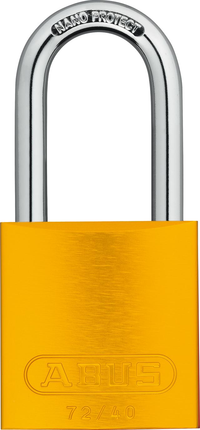 Vorhangschloss Aluminium 72/40HB40 gelb HS codifiziert