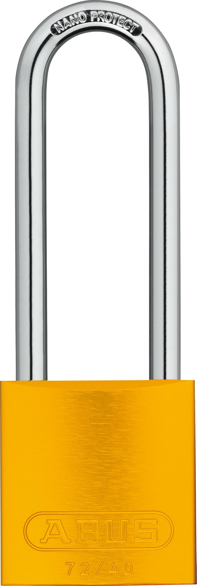 Vorhangschloss Aluminium 72/40HB75 gelb