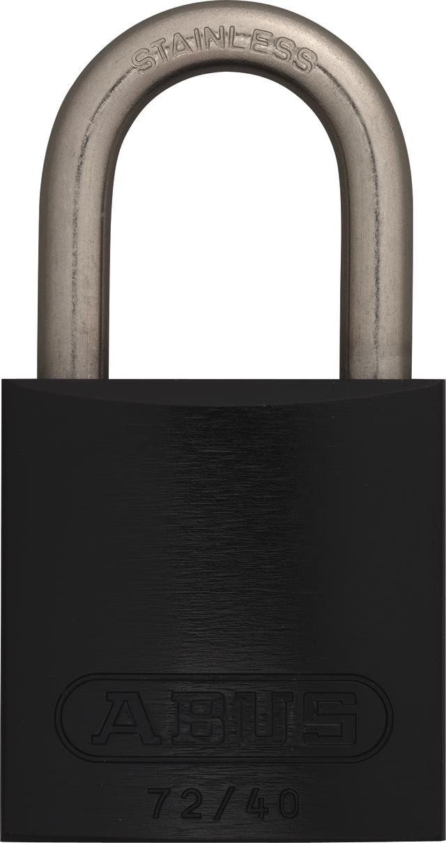 Vorhangschloss Aluminium 72IB/40 schwarz HS codifiziert+markiert