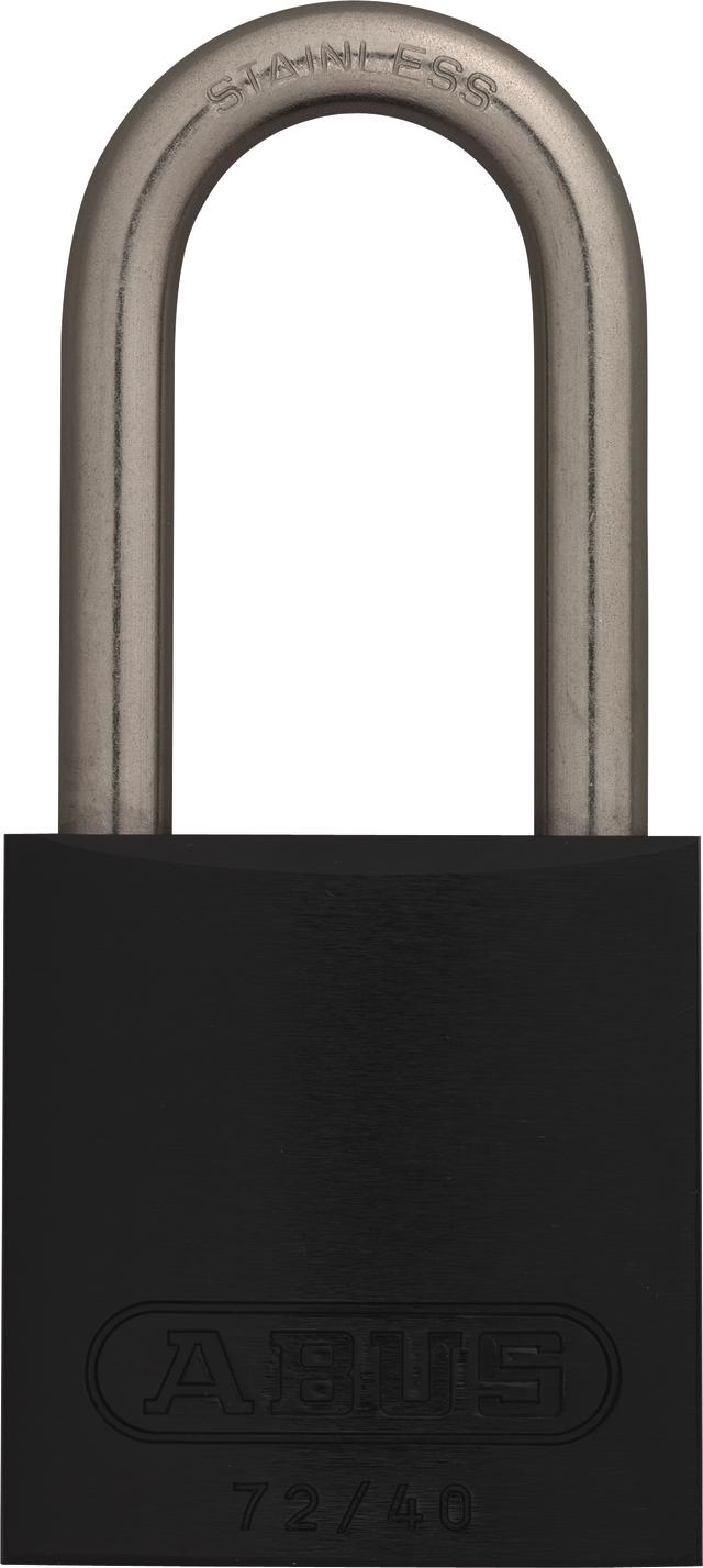Vorhangschloss Aluminium 72IB/40HB40 schwarz gl.