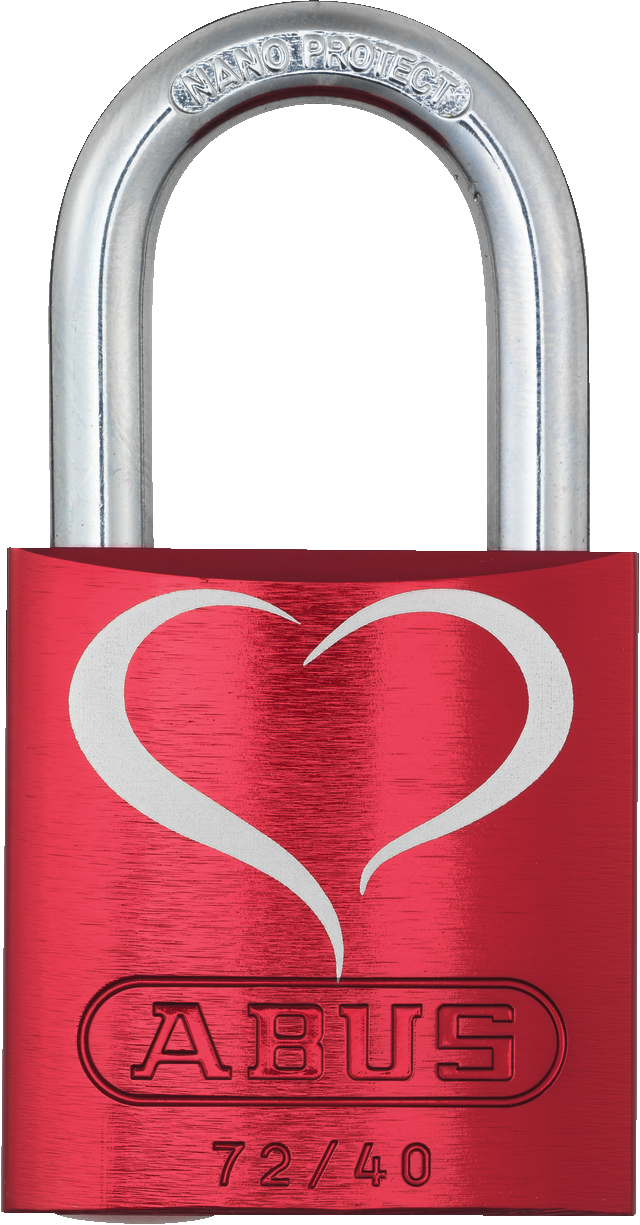 Vorhangschloss Aluminium 72/40 rot LoveLock 2 Lock-Tag Vorderansicht