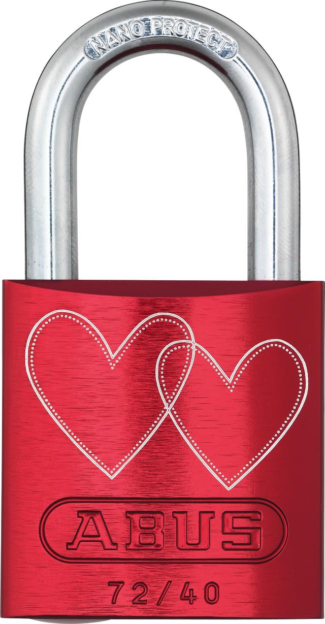 Vorhangschloss Aluminium 72/40 rot Love Lock 4 Lock-Tag Vorderansicht