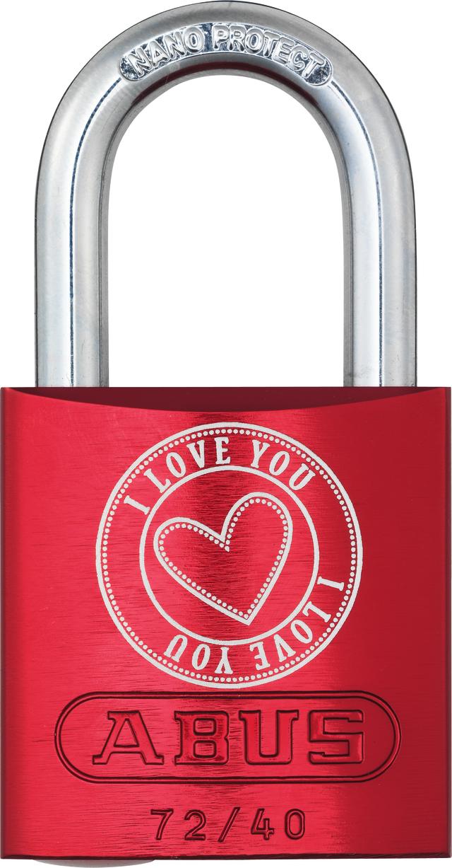 Vorhangschloss Aluminium 72/40 rot Love Lock 5 Lock-Tag Vorderansicht