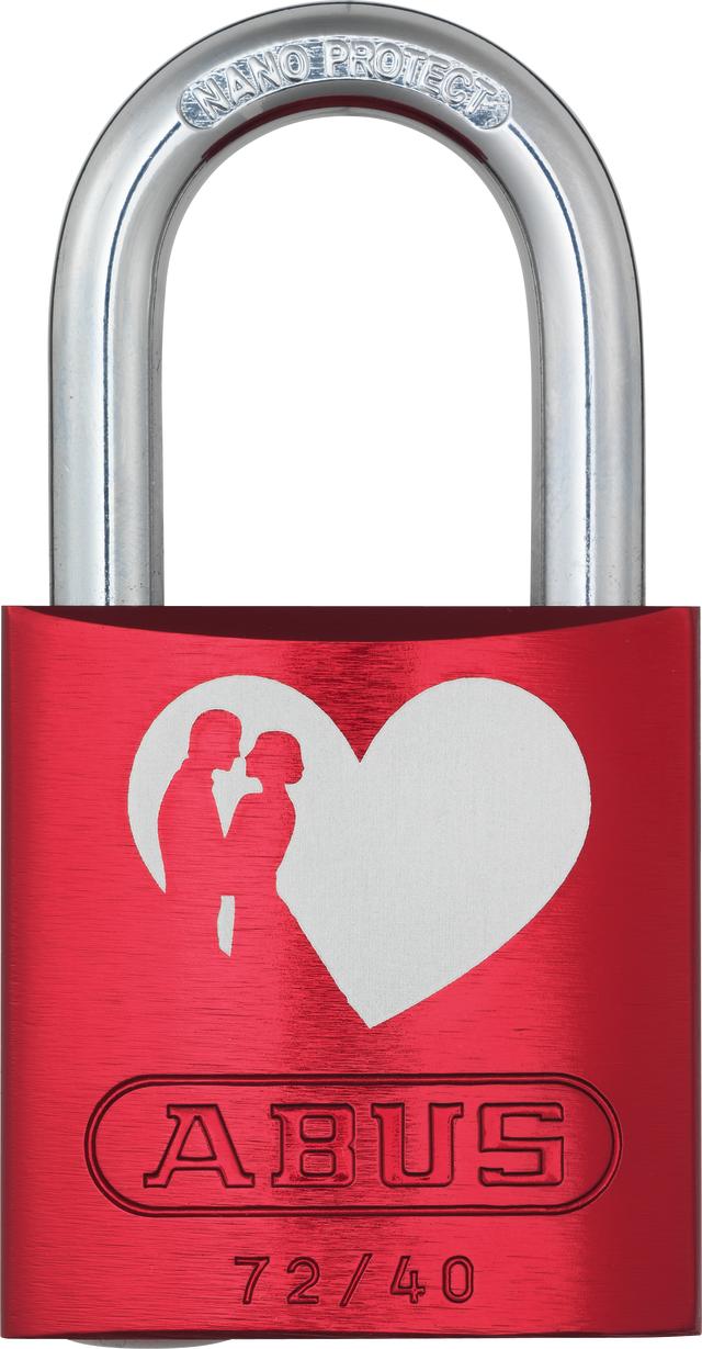 Vorhangschloss Aluminium 72/40 Love Lock Vorderansicht