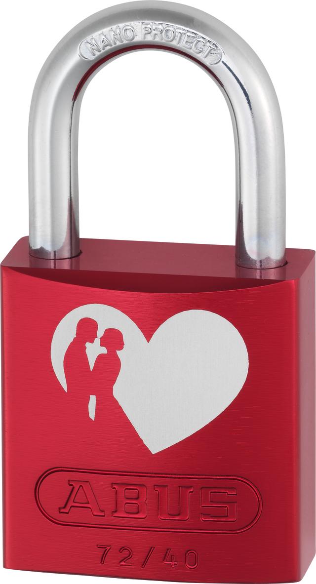 Vorhangschloss Aluminium 72/40 rot Love Lock 6 Lock-Tag Vorderansicht