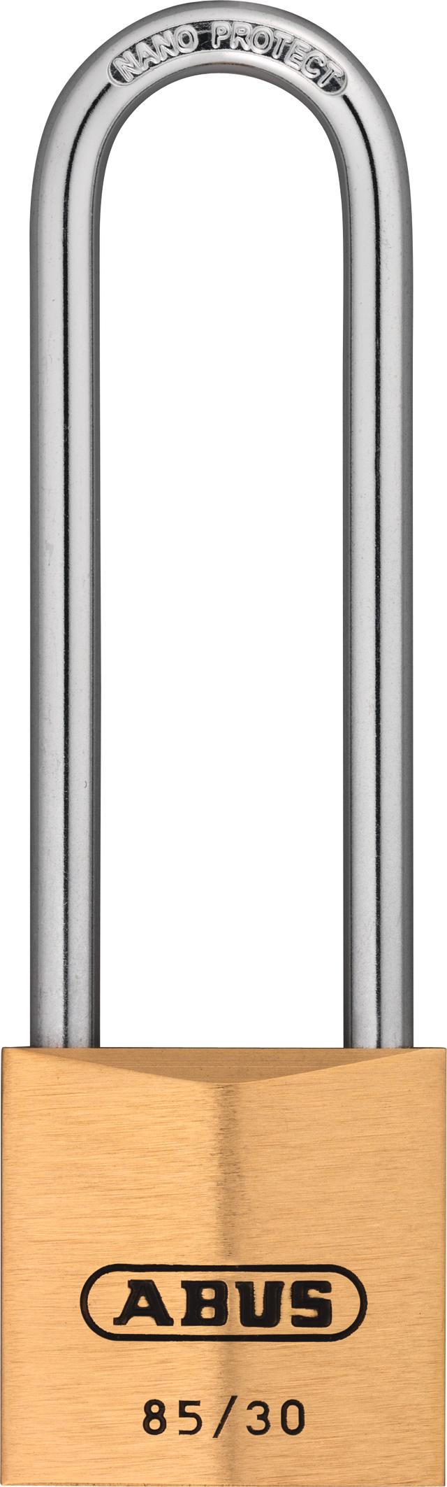 Vorhangschloss Messing 85/30HB65 gl. lt. Muster/Code