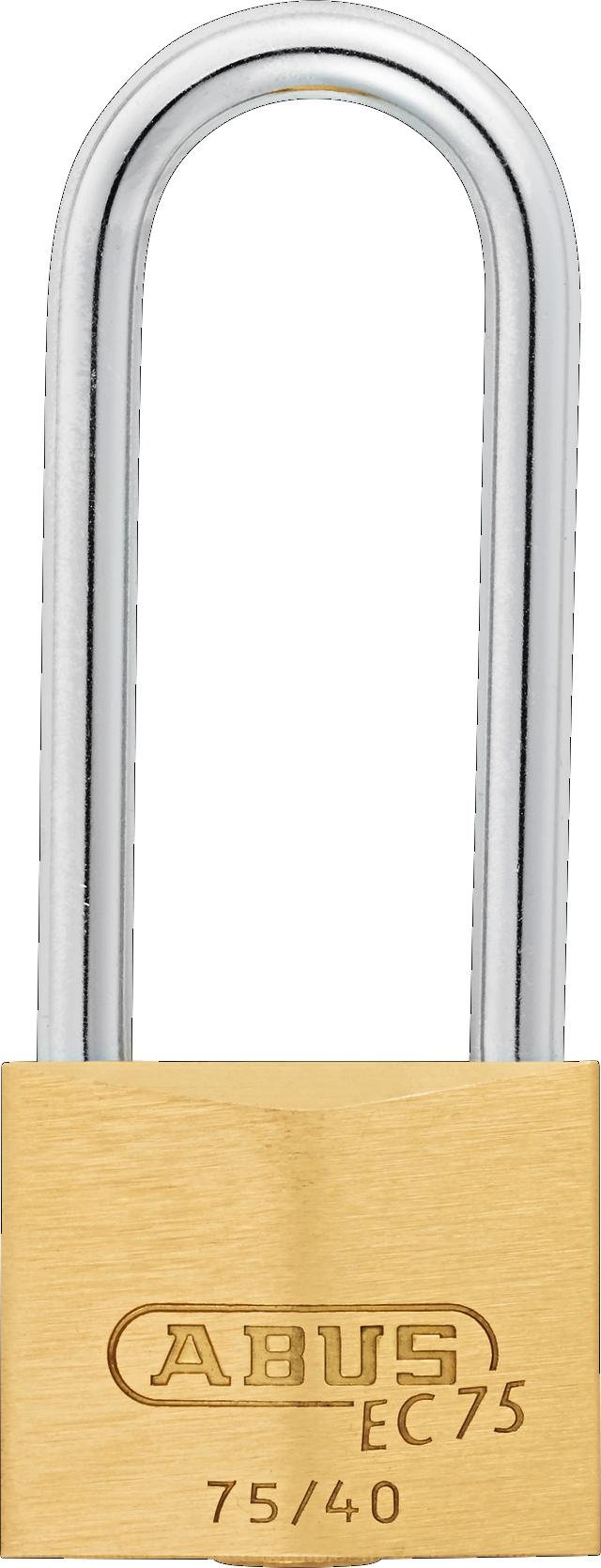 Vorhangschloss Messing 75/40HB63 gl.-7342 Rückansicht