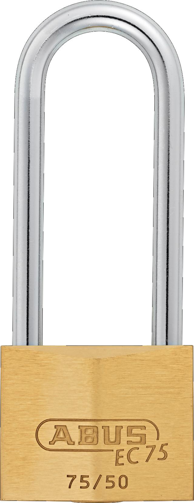 Vorhangschloss Messing 75/50HB80 B/EFSPP Rückansicht